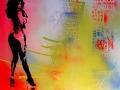 hooker stripper portrait stencil rainbow background canvas