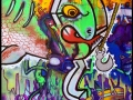 Underwater ocean scene graffiti street art style painting