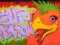 uv reactive black light painting art neon glow bird mohawk graffiti