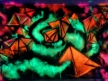 black light geometric graffiti art