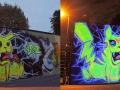 Pikachu black light graffiti art mural