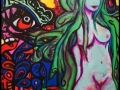 Naked blue woman graffiti style on canvas