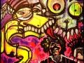 Experimental street art style painting by artist Vinni Kiniki