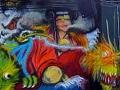 large graffiti mural bangkok black pagoda by vinni kiniki artist