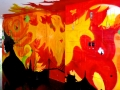 Flaming phoenix graffiti art piece