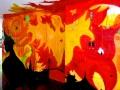 Flaming phoenix graffiti art piece