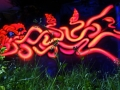 Black light art painting red squid graffiti