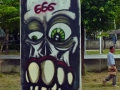 Evil cute skull graffiti character 666 bangkok