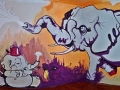a lovely bedroom mural painted on walls acrylic paint elephant bunny huge