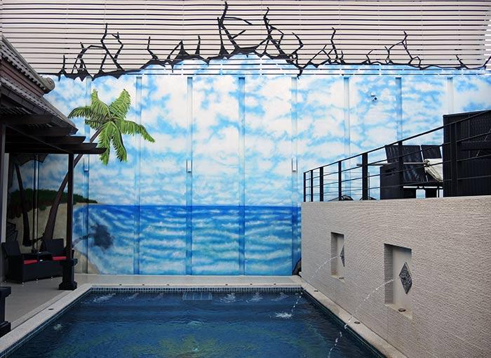 Vinni kiniki graffiti mural artist for hire street art for Beach scene mural