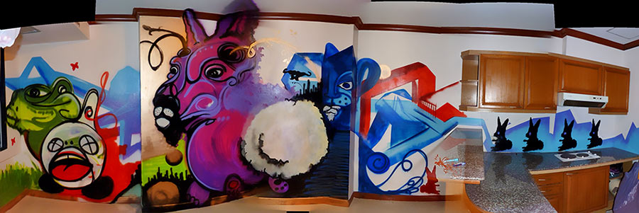 Beautiful Living Room Interior Design Graffiti Style Mural By Hire Artist