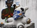 Photo Bangkok Thailand graffiti street art Battle Bear cuddly toy