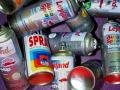 Spray can graffiti installation art spraycans balanced on top of other.