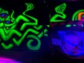 black light party squid mural art