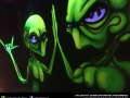 alien graffiti black light art