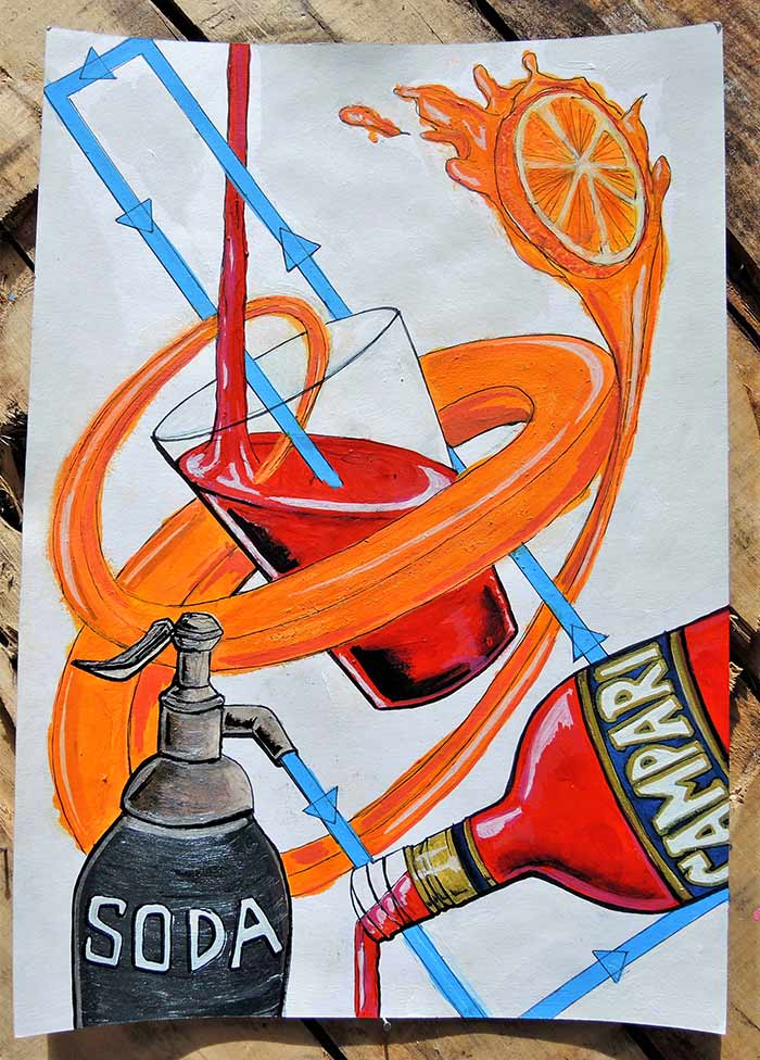 campari poster art abstract orange soda