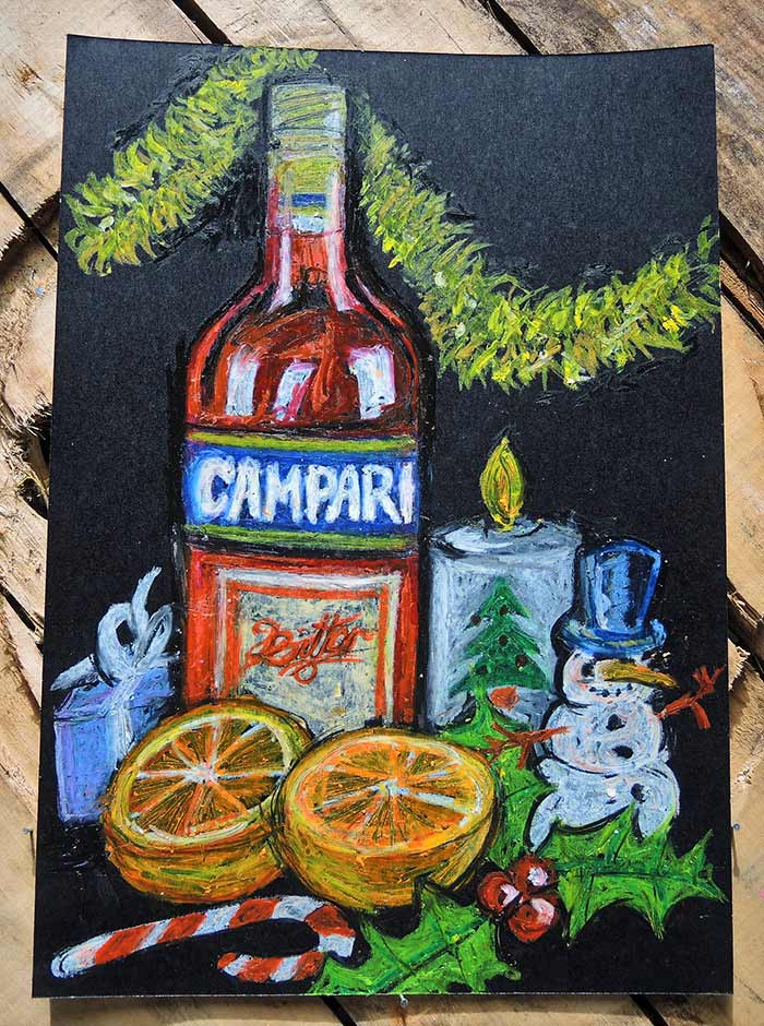 campari poster art Christmas still life