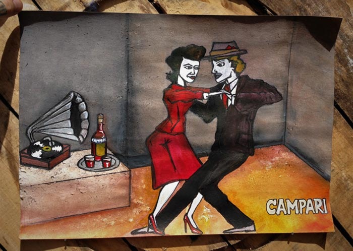 campari poster art dancing ink painting