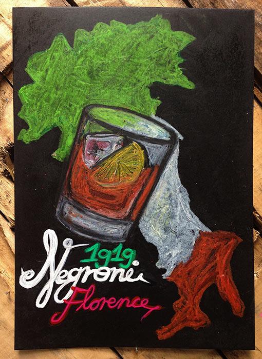 Campari poster art Negroni oil pastels