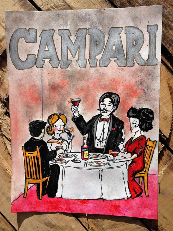 Campari poster art pen and ink dining
