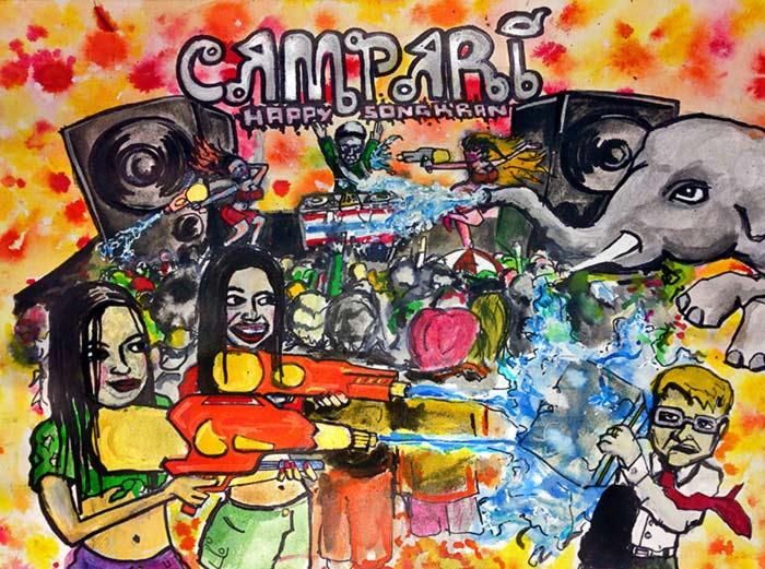 Campari poster art Songkran Thailand