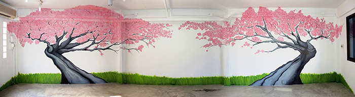 cherry blossom tree graffiti mural