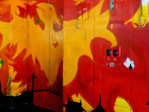 Hotel Hire mural artist to paint hotel lobby with chic graffiti painting