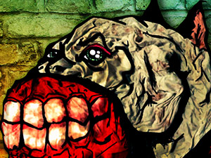 Snarling bloody gums evil dog digital illustration