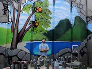 Tropical beach scene poolside graffiti mural project