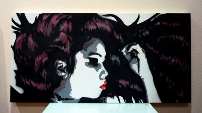 stencil art on canvas