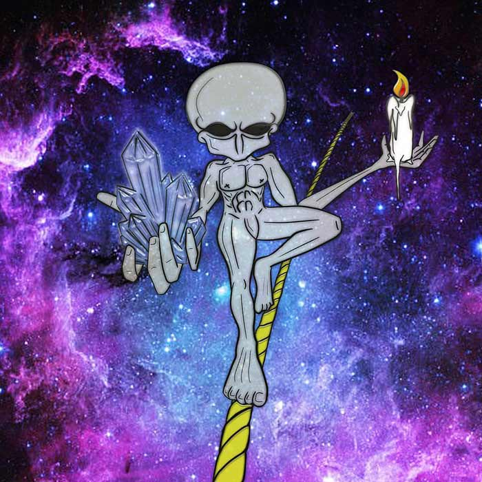 Alien walking a tightrope in space holding candle and crystal by Vinni Kiniki