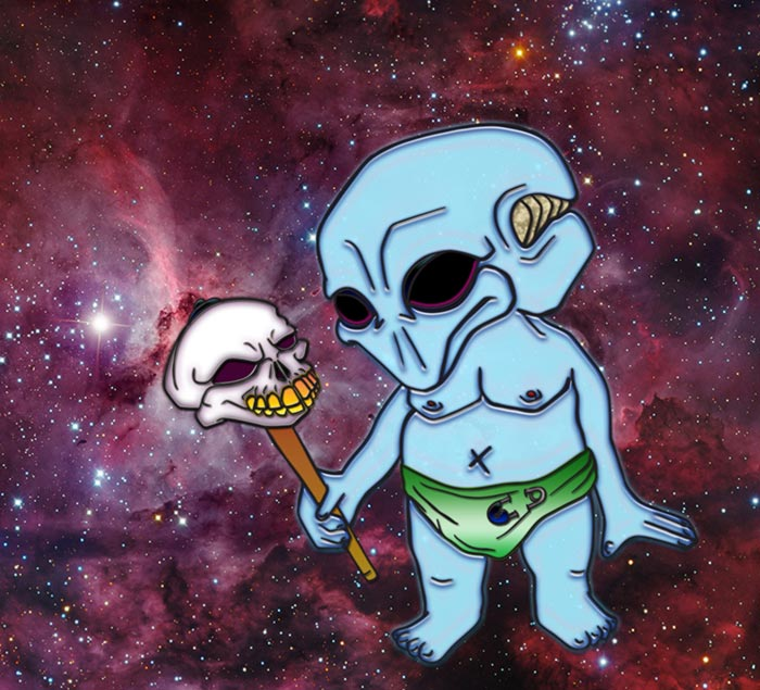 Baby alien in space digital art