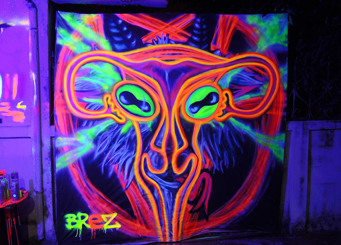 black light art uterus baphomet