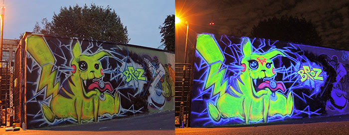 black light pikachu graffiti mural Vinni Kiniki