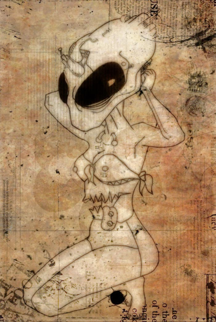 sexy alien posing digital art