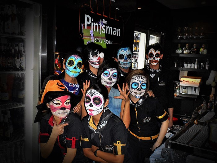 Halloween sugar skull face painting for bar staff by Vinni Kiniki