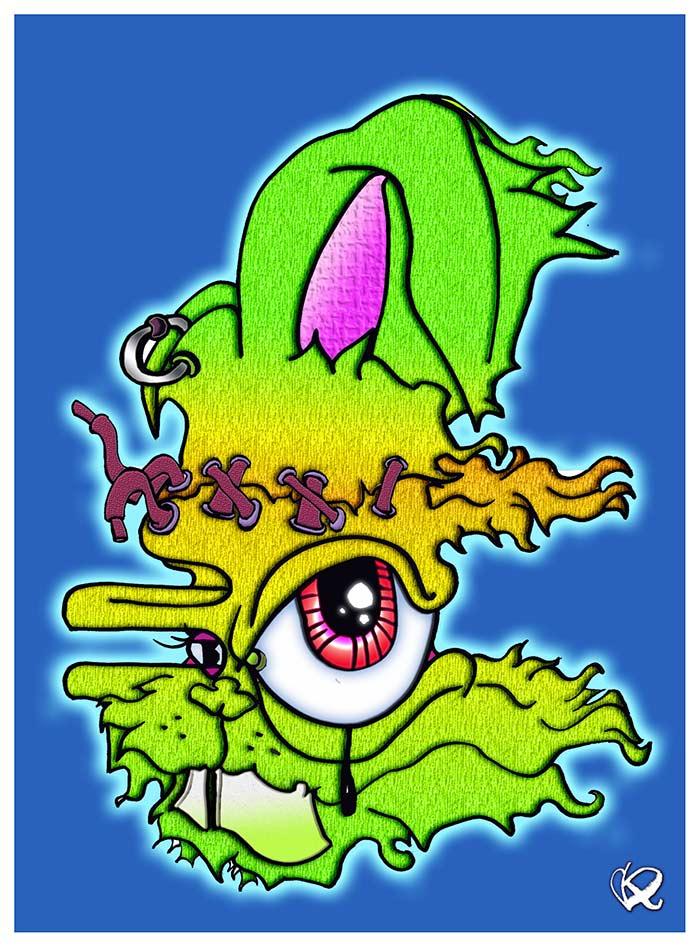 Frankenbunny character illustration
