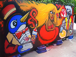 Live graffiti painting performance for Campari launch party