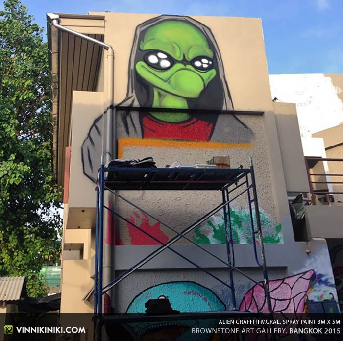 Alien Graffiti Mural in progress