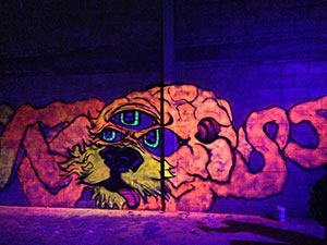 Black light graffiti art alien hybrid chimera