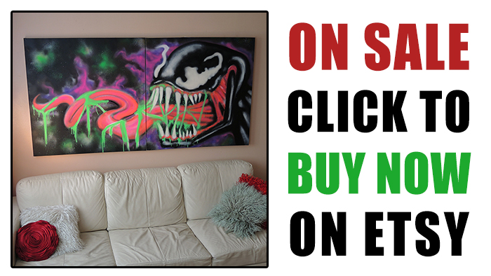 buy black light venom art on canvas on etsy by vinni kiniki