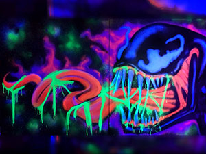 Venom black light graffiti on canvas