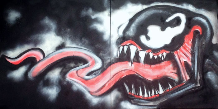 venom painting on canvas
