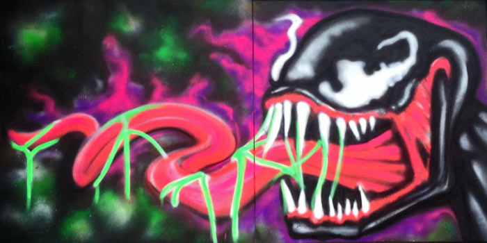 venom graffiti painting by vinni kiniki