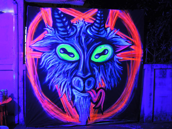 black light art pentagram goat