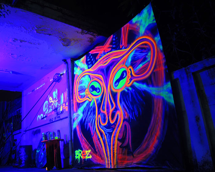 black light art occult goat uterus graffiti