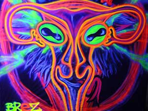 Black Light Graffiti Art Pentagram Goat Uterus Painting
