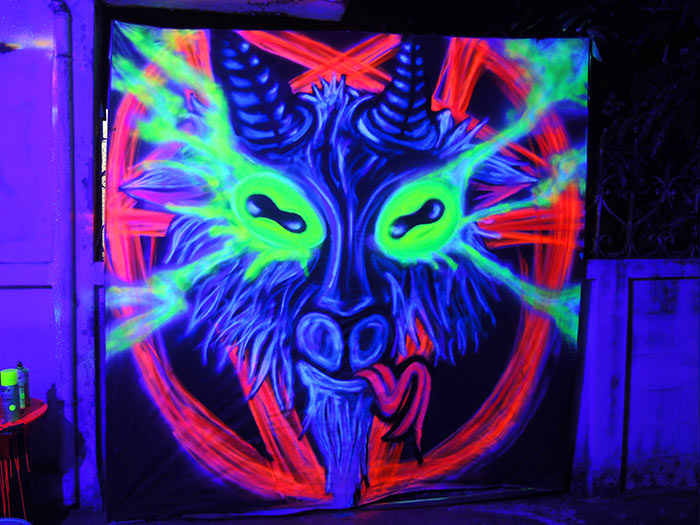 occult black light art satanic goat pentagram