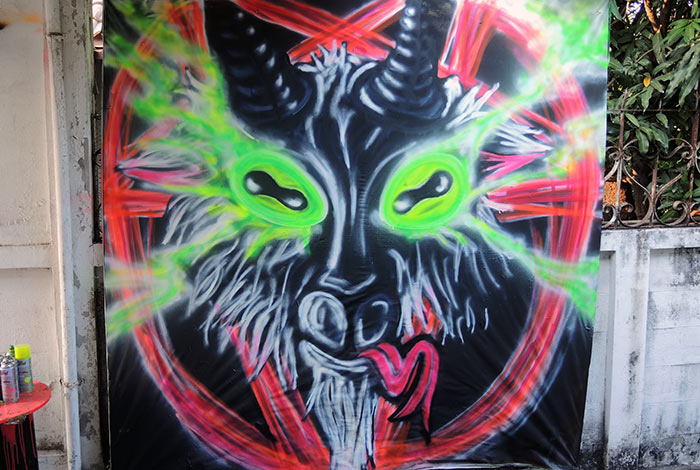 occult graffiti mural baphomet goat head pentagram
