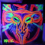 uterus baphomet pentagram black light art wallpaper